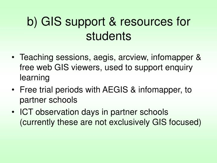 b) GIS support & resources for students