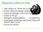 e mpower others to lead