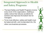 integrated approach to health and safety programs