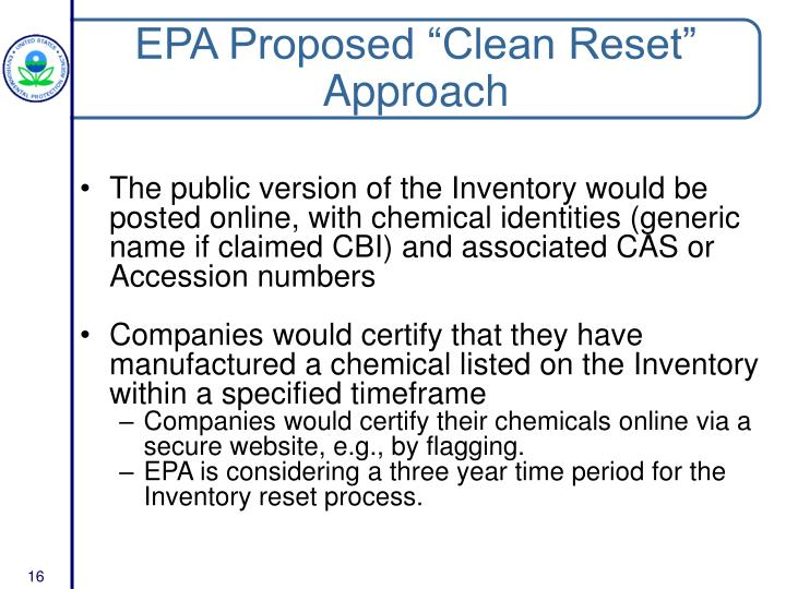 "EPA Proposed ""Clean Reset"" Approach"