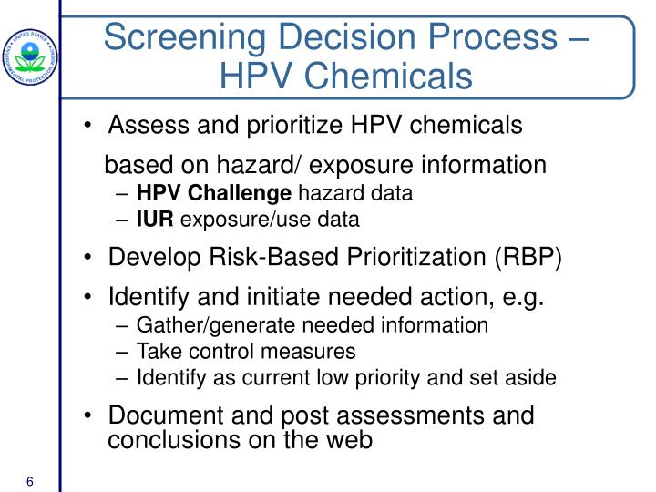 Screening Decision Process – HPV Chemicals