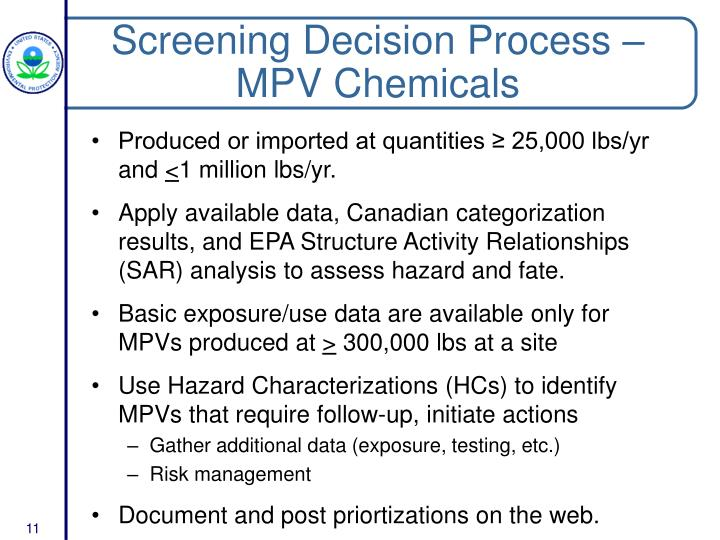 Screening Decision Process – MPV Chemicals