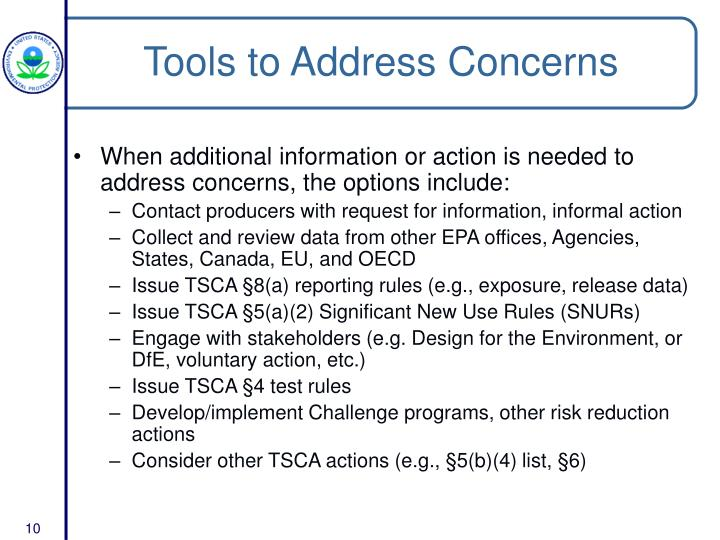 Tools to Address Concerns