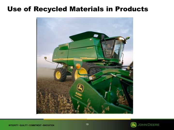 Use of Recycled Materials in Products
