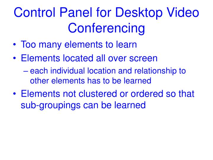 Control Panel for Desktop Video Conferencing