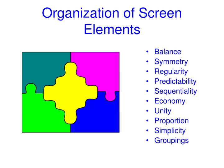 Organization of Screen Elements