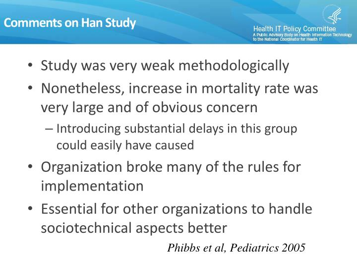 Comments on Han Study