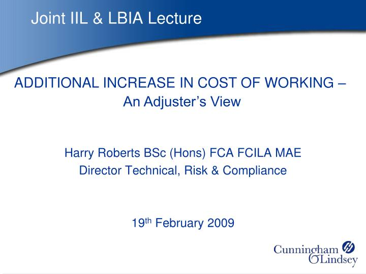 Joint IIL & LBIA Lecture