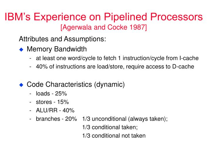 IBM's Experience on Pipelined Processors