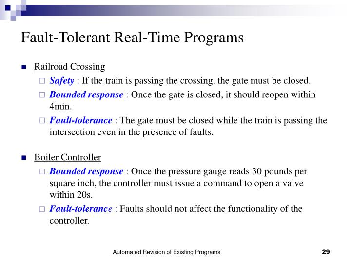 Fault-Tolerant Real-Time Programs