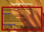 application criteria1