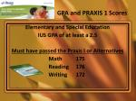 gpa and praxis 1 scores