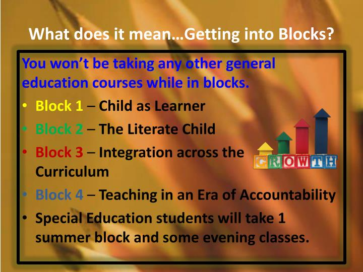 What does it mean…Getting into Blocks?