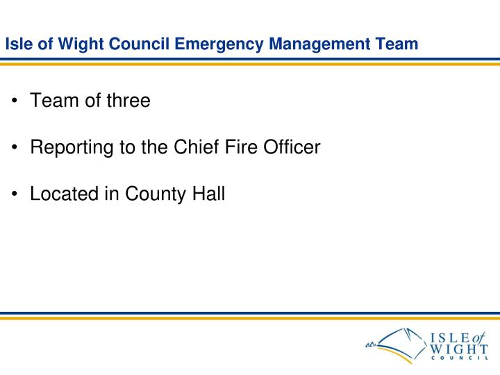 Isle of Wight Council Emergency Management Team