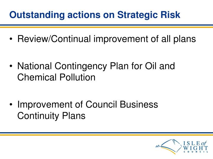 Outstanding actions on Strategic Risk