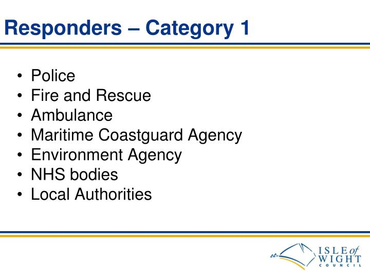 Responders – Category 1