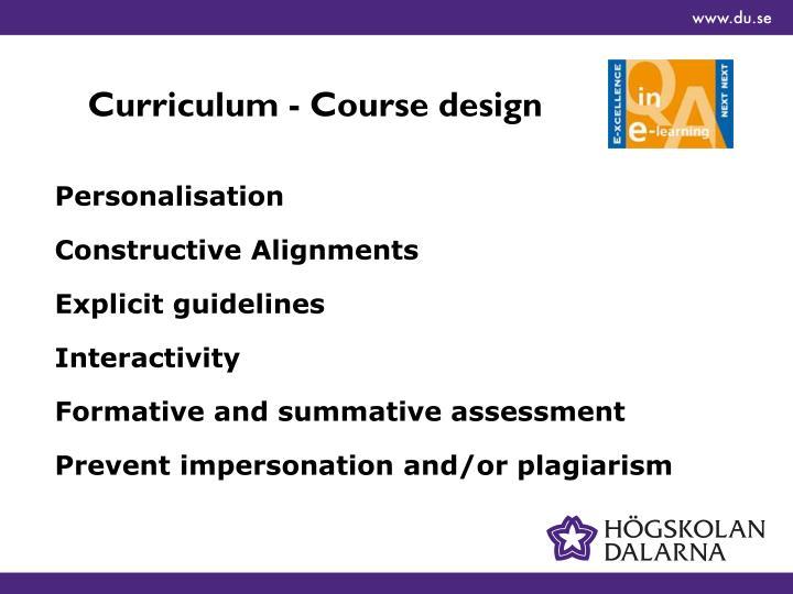 Curriculum - Course design