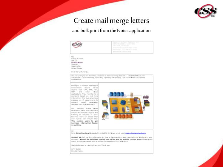 Create mail merge letters