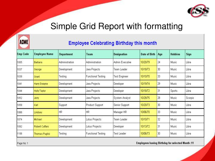 Simple Grid Report with formatting