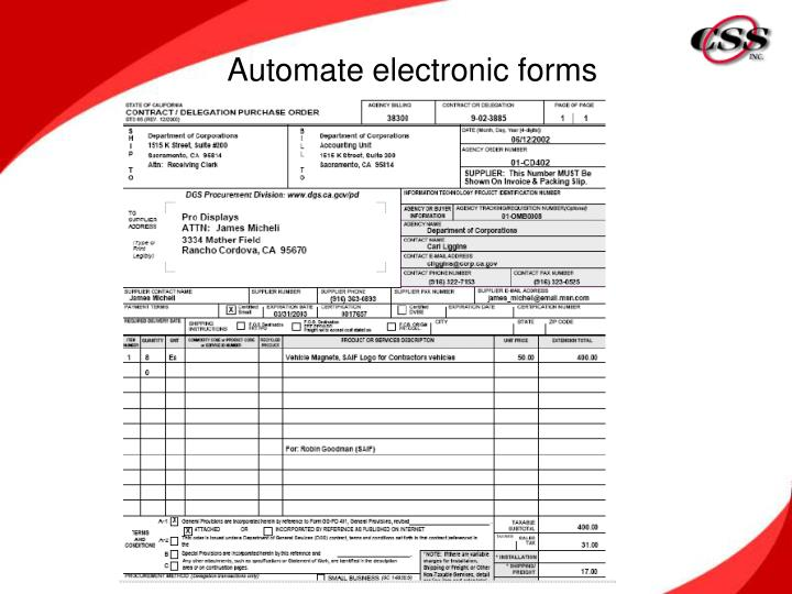 Automate electronic forms