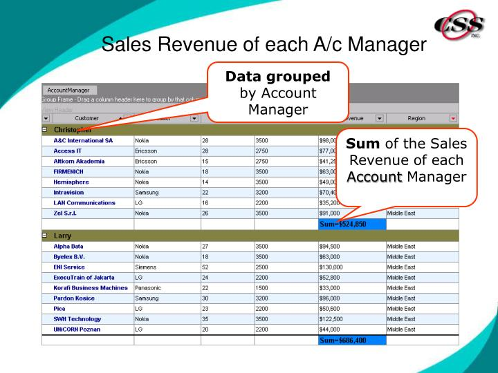 Sales Revenue of each A/c Manager