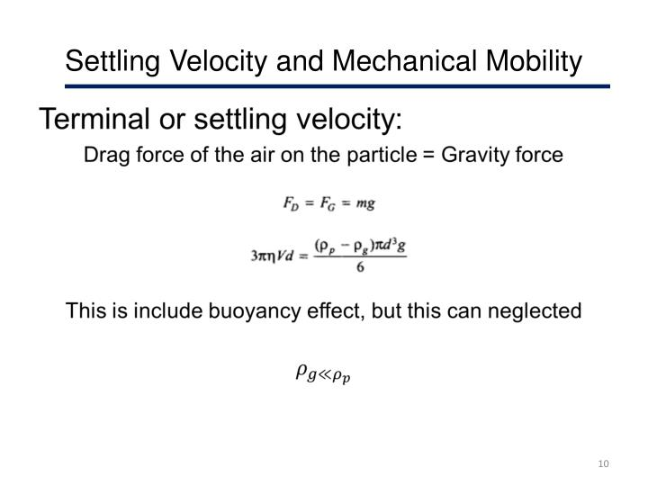 Settling Velocity and Mechanical Mobility