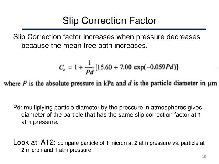 Slip Correction Factor