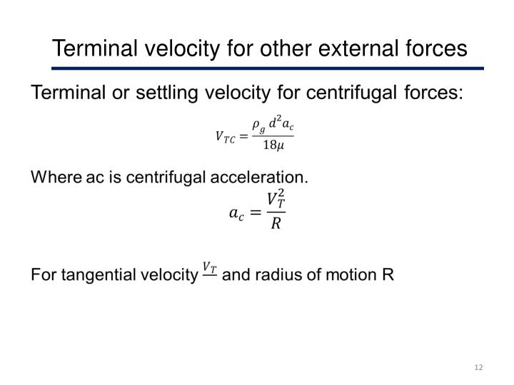 Terminal velocity for other external forces