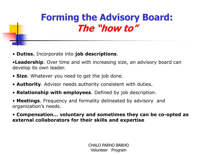 Forming the Advisory Board: