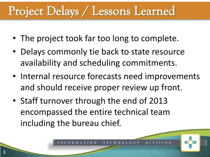 Project delays lessons learned