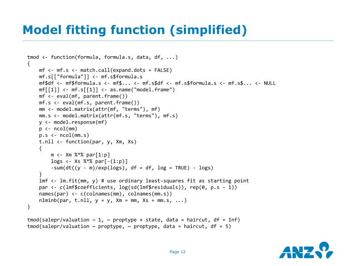 Model fitting function (simplified)