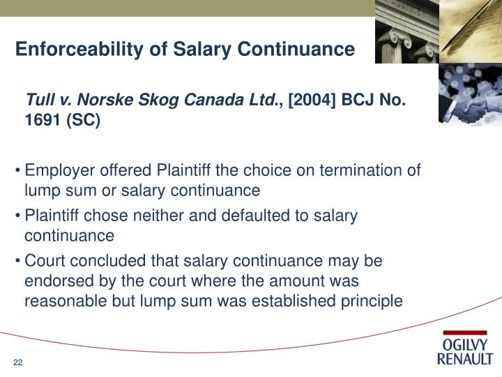 Enforceability of Salary Continuance