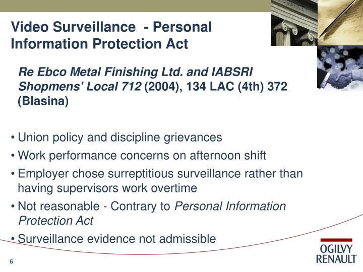 Video Surveillance  - Personal Information Protection Act