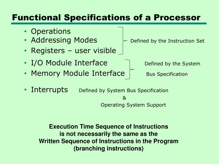 Functional Specifications of a Processor