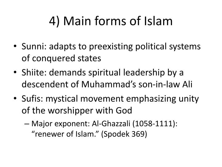 4) Main forms of Islam