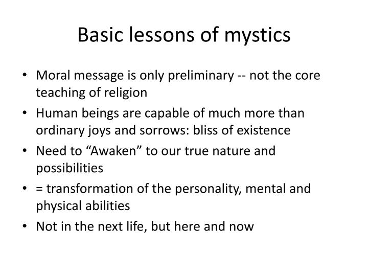 Basic lessons of mystics