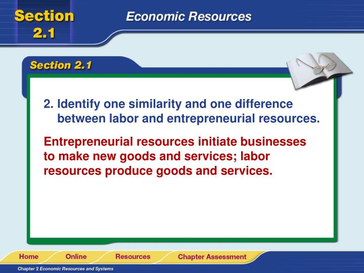 Identify one similarity and one difference between labor and entrepreneurial resources.