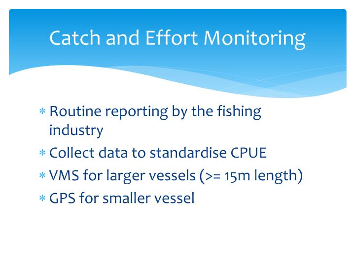 Catch and Effort Monitoring