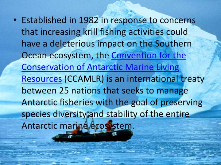 Established in 1982 in response to concerns that increasing krill fishing activities could have a deleterious impact on the Southern Ocean ecosystem, the