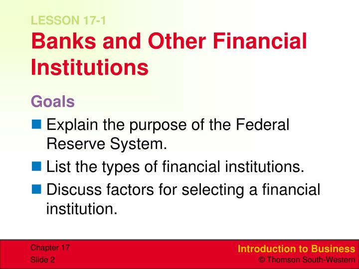 Lesson 17 1 banks and other financial institutions