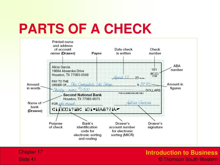 PARTS OF A CHECK