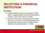 selecting a financial institution1