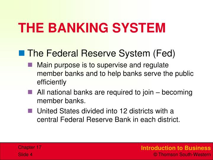 THE BANKING SYSTEM