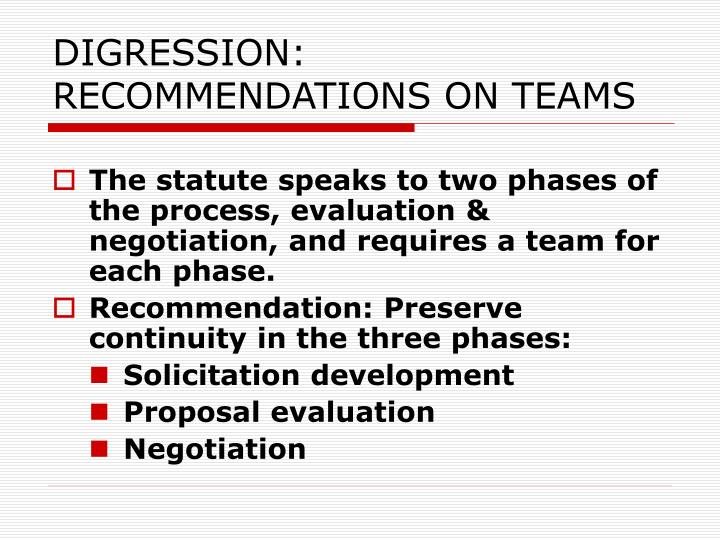 DIGRESSION: RECOMMENDATIONS ON TEAMS