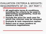 evaluation criteria weights requirements of ch 287 part i