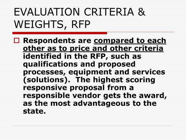 EVALUATION CRITERIA & WEIGHTS, RFP
