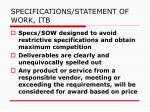 specifications statement of work itb