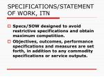 specifications statement of work itn