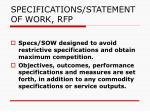 specifications statement of work rfp
