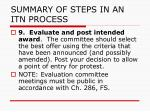 summary of steps in an itn process9